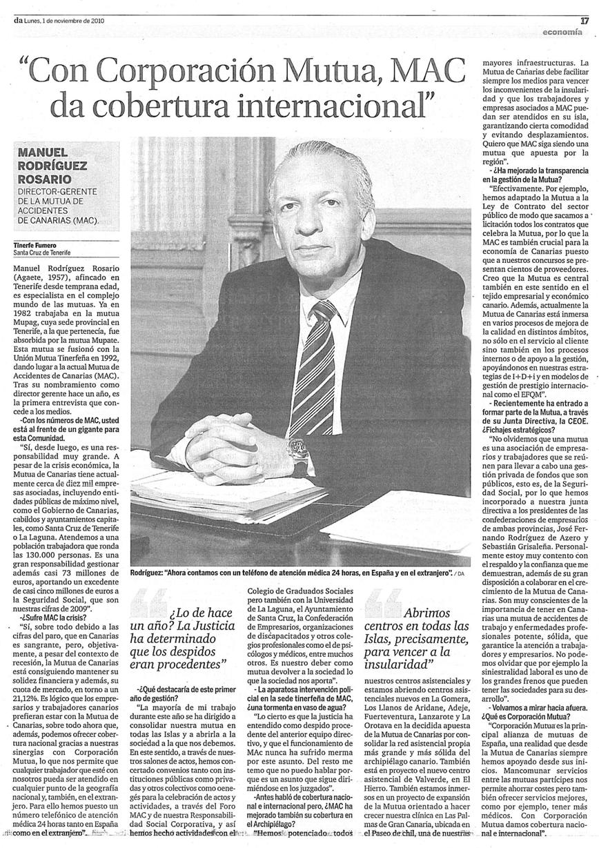 ENTREVISTA A MANUEL RODRÍGUEZ ROSARIO EN DIARIO DE AVISOS (1-11-2010)