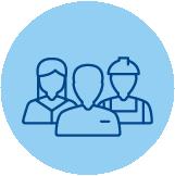 Icono de uno trabajadores para representar a los trabajadores sobre fondo azul
