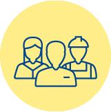 Icono de unos trabajadores para representar a los trabajadores sobre fondo amarillo
