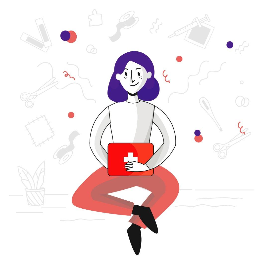 Ilustración de una mujer sentada con un botiquín en las manos
