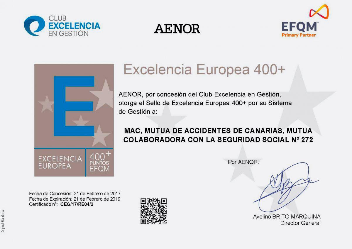 Certificado del Club de Excelencia de Gestión