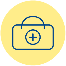 Icono de un botiquín sobre fondo amarillo