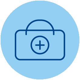 Icono de un botiquín sobre fondo azul