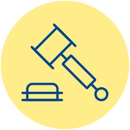 Icono que representa a línea de color azul oscuro sobre fondo amarillo a un mazo de juez