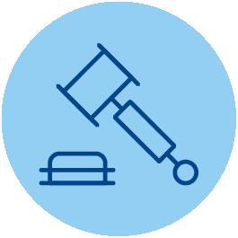 Icono que representa a línea de color azul oscuro sobre fondo azul más claro a un mazo de juez