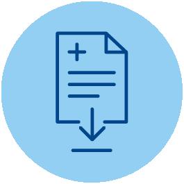 Icono que representa a línea de color azul oscuro sobre fondo azul más claro a un documento
