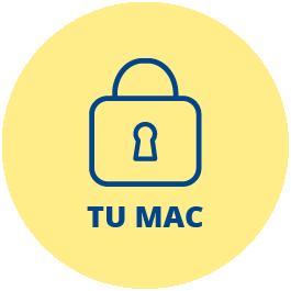 Icono que representa a línea de color azul oscuro sobre fondo amarillo a un candado