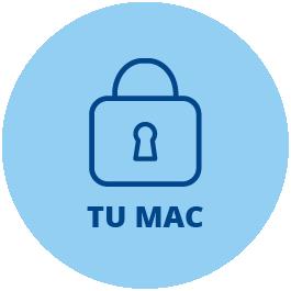 Icono que representa a línea de color azul oscuro sobre fondo azul más claro a un candado
