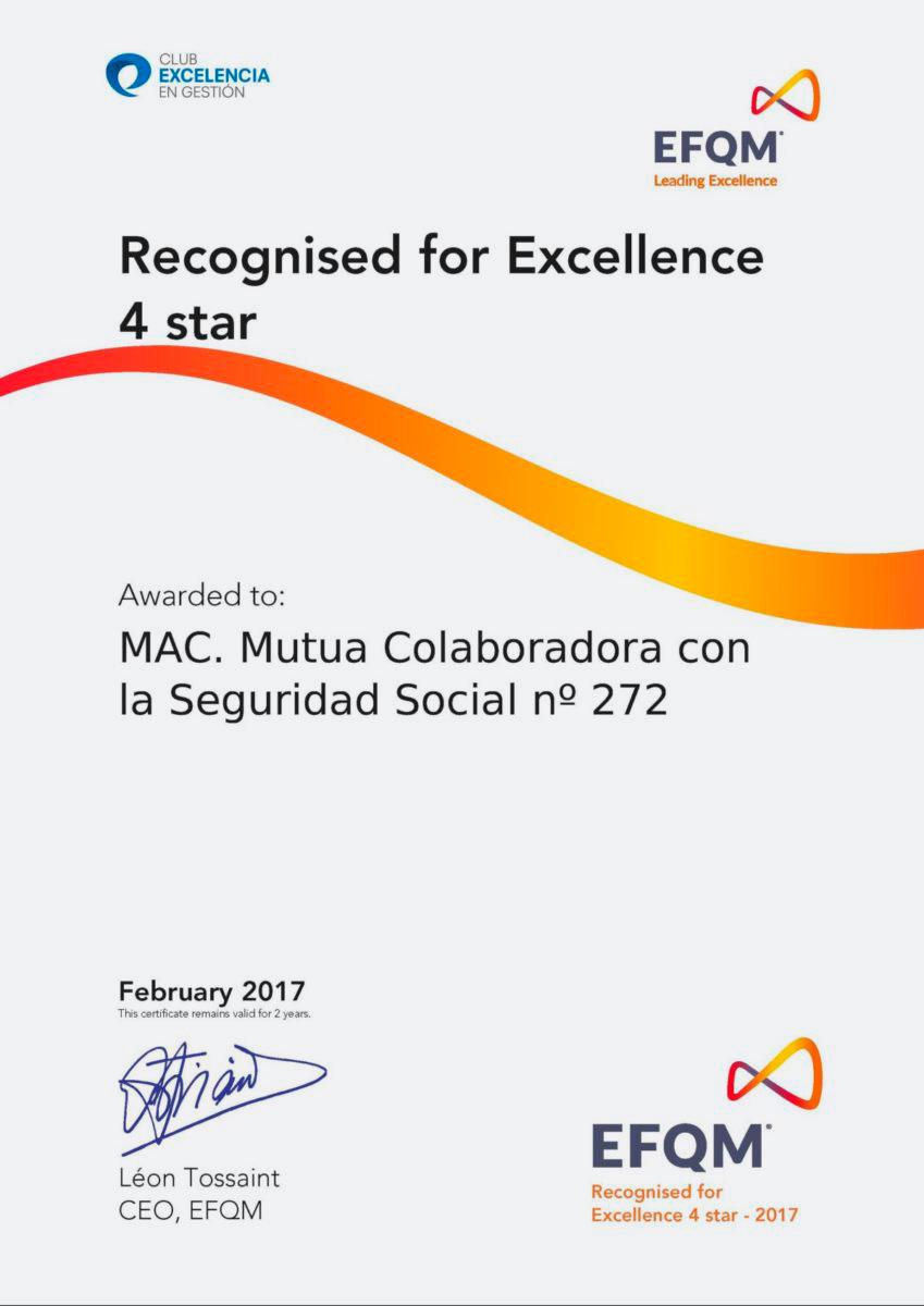 Imagen del certificado de reconocimiento de excelencia